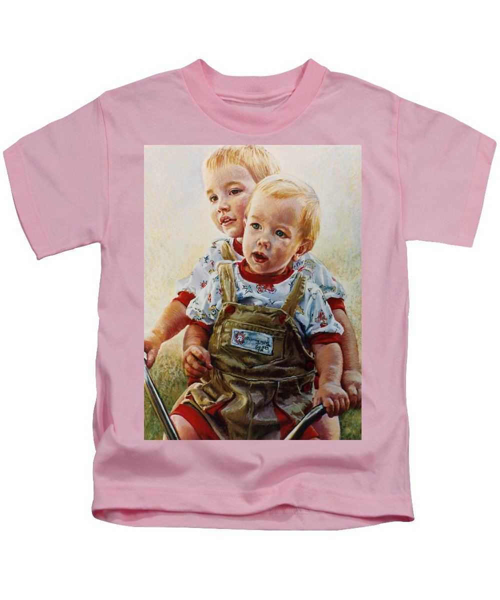 Pastel Portrait Kids T-Shirt featuring the pastel Cousins by Jean Hildebrant