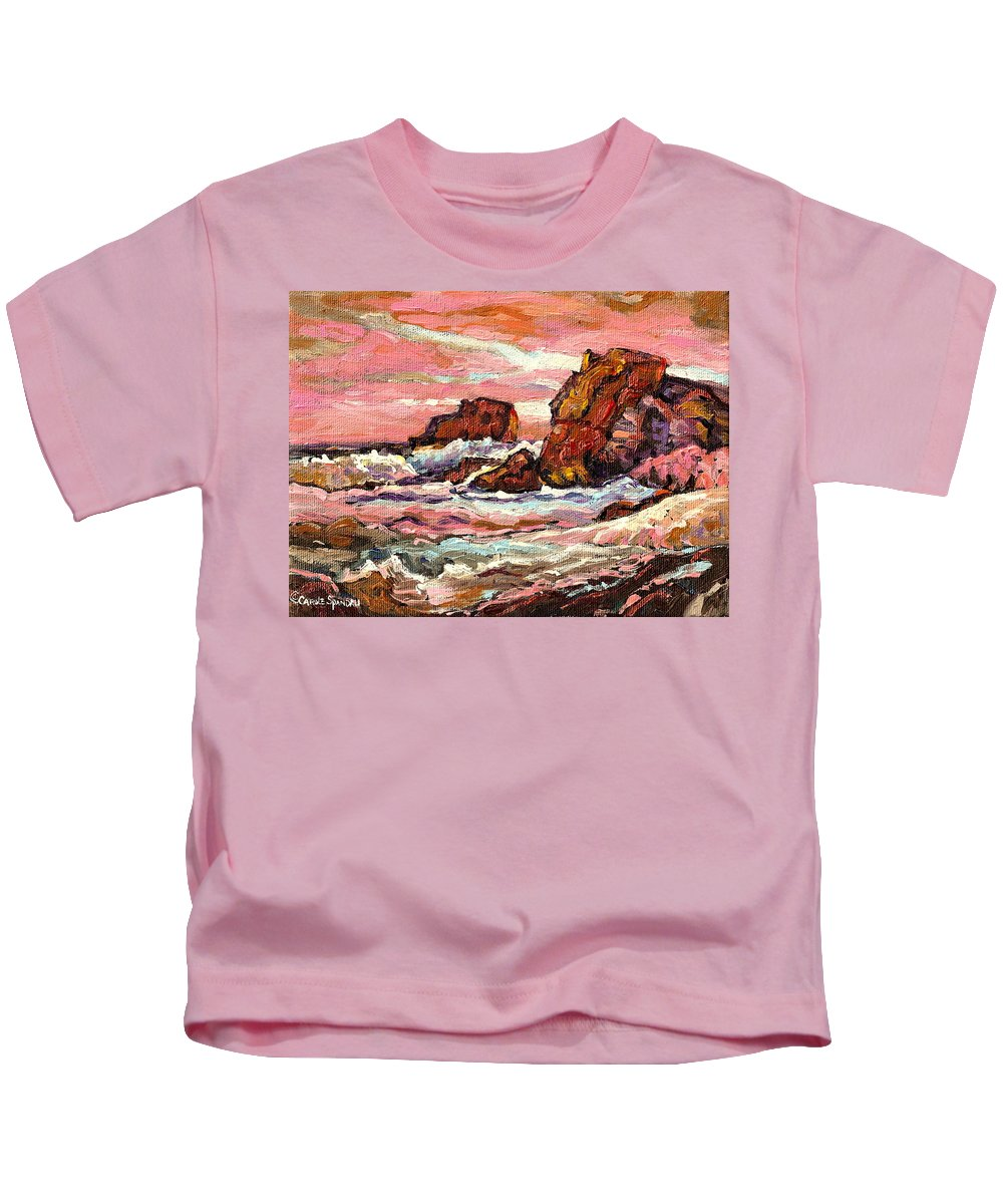 Seascapes Kids T-Shirt featuring the painting Crashing Waves At Sunset Majestic Seascape by Carole Spandau