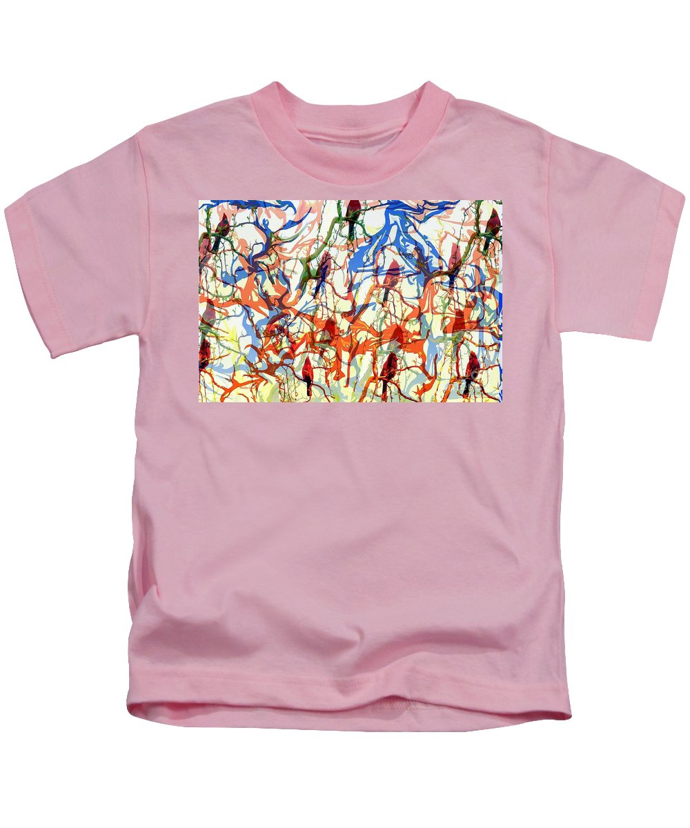Birds Kids T-Shirt featuring the digital art Crazy Cardinals by Shelley Jones