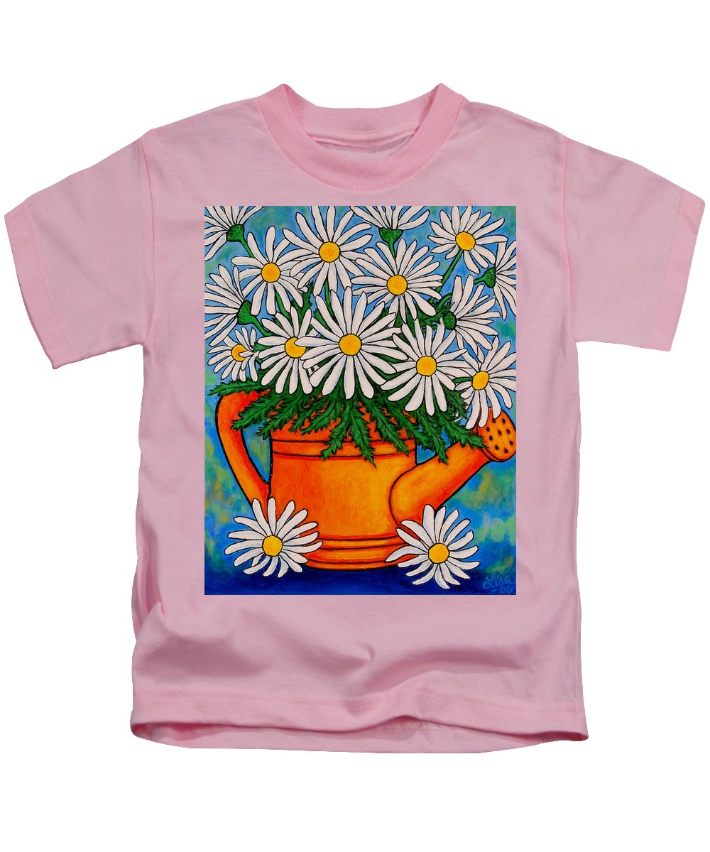Daisies Kids T-Shirt featuring the painting Crazy for Daisies by Lisa Lorenz