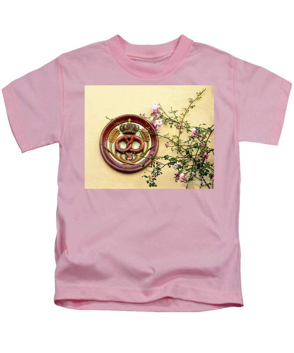 Pretzel Kids T-Shirt featuring the photograph Crowned Pretzel Sign With Roses by Catherine Sherman