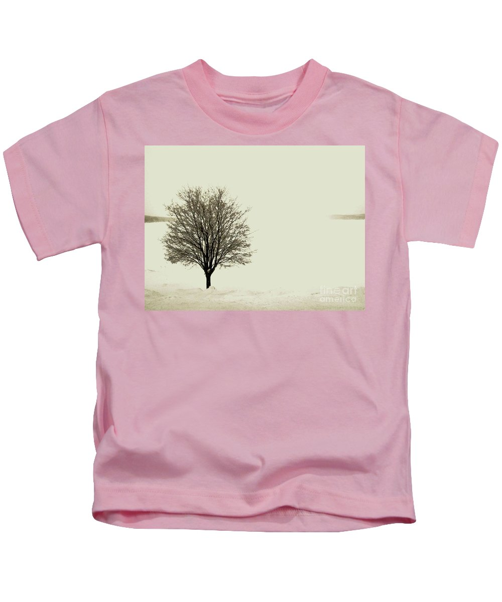 White Kids T-Shirt featuring the photograph Crystal Lake In Winter by Desiree Paquette