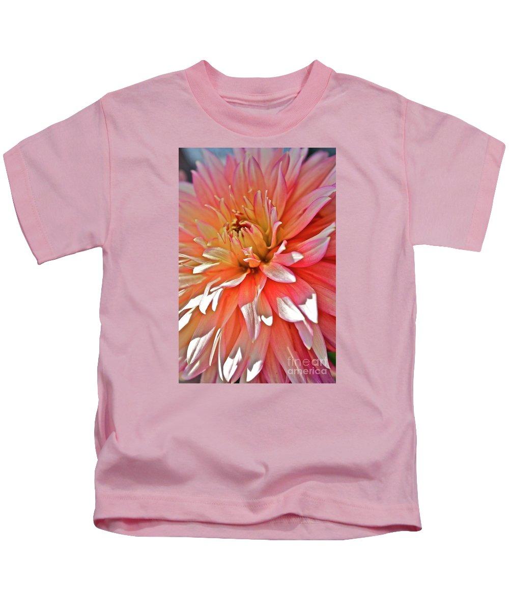 Dahlia Kids T-Shirt featuring the photograph Dahlia Blush by Linda Bianic