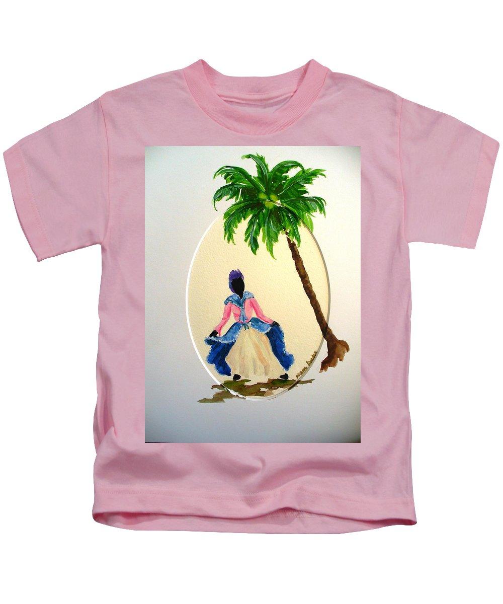 Dancer Caribbean Kids T-Shirt featuring the painting Dancer 2 by Karin Dawn Kelshall- Best