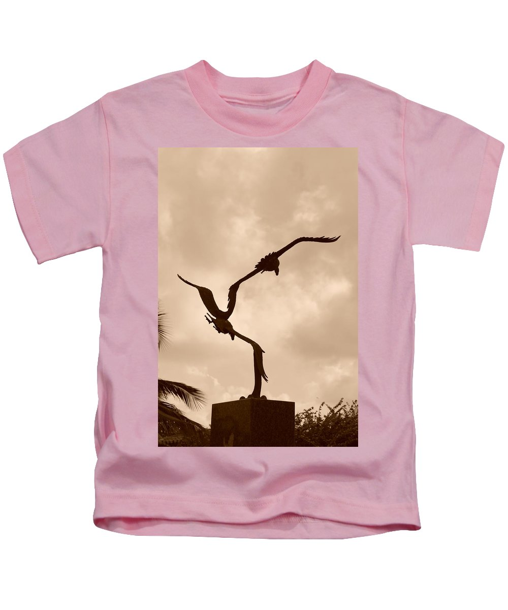 Sepia Kids T-Shirt featuring the photograph Dancing Birds by Rob Hans