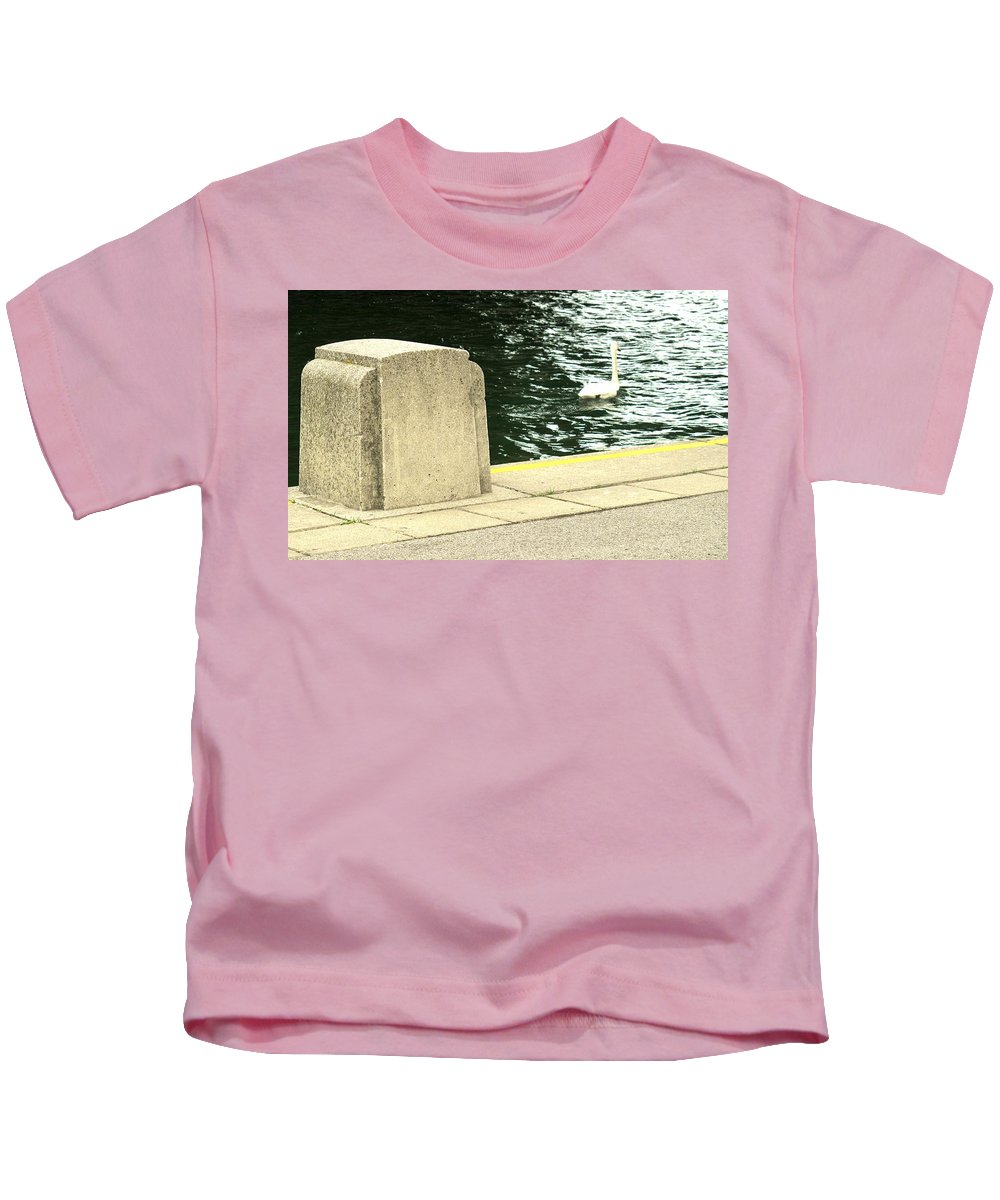Swan Kids T-Shirt featuring the photograph Danube River Swan by Ian MacDonald