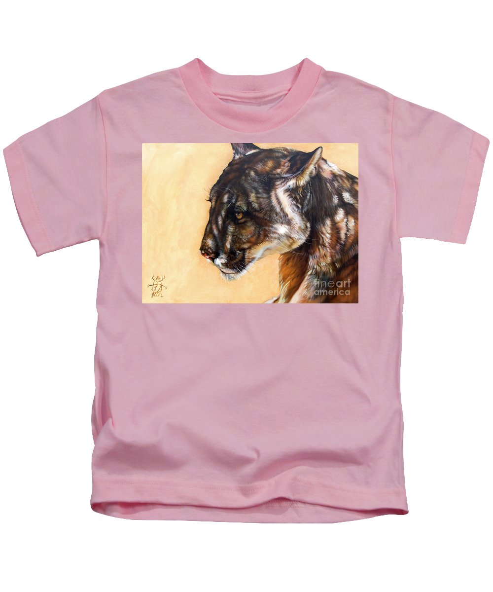 Catamount Kids T-Shirt featuring the painting Dappled by J W Baker