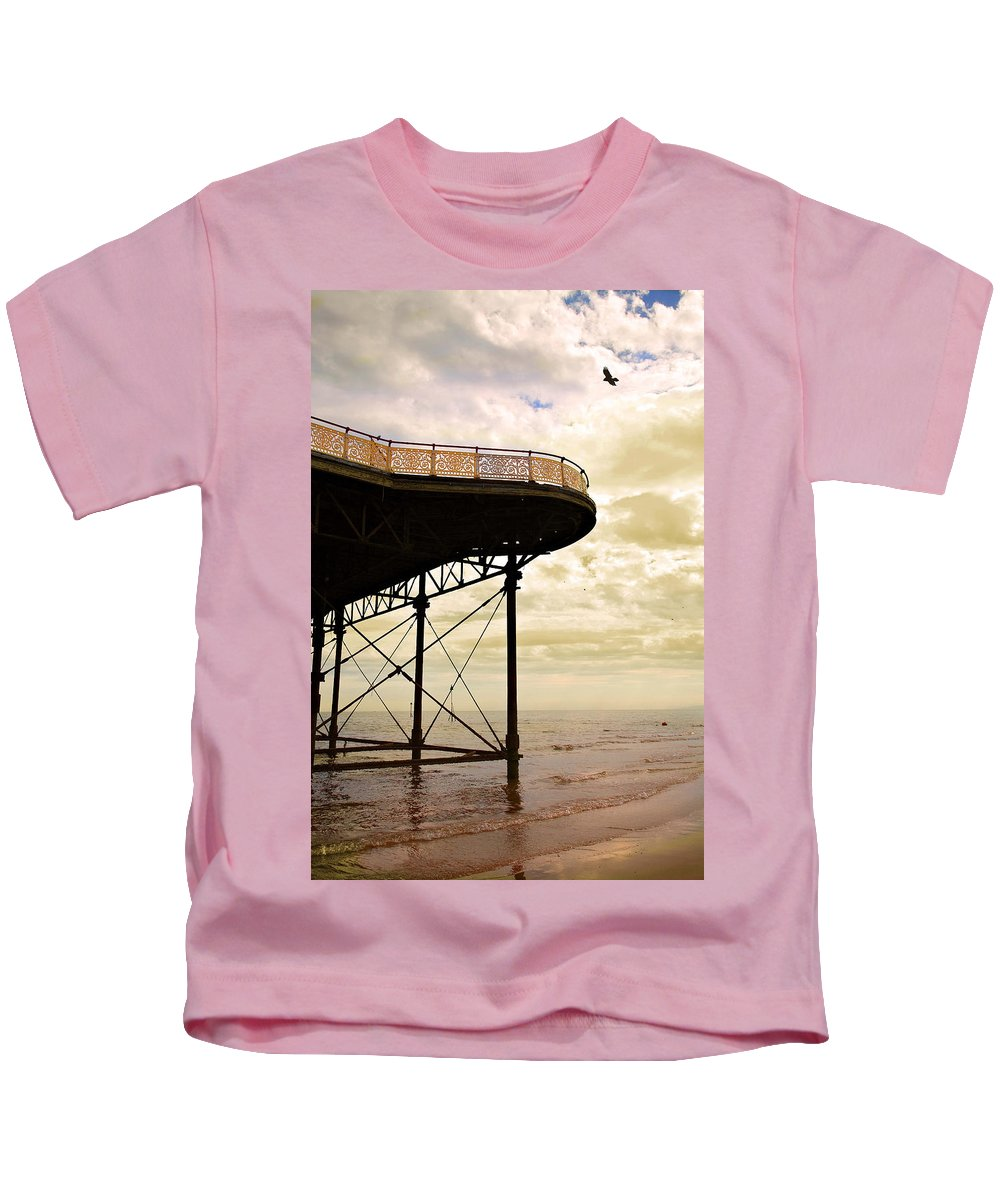 Victoria Kids T-Shirt featuring the photograph Dawn At Colwyn Bay Victoria Pier Conwy North Wales Uk by Mal Bray