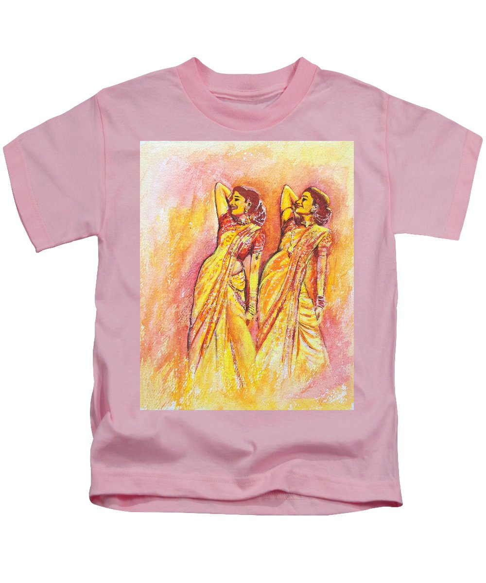 Bollywood Kids T-Shirt featuring the painting Devdas Dance by Usha Shantharam