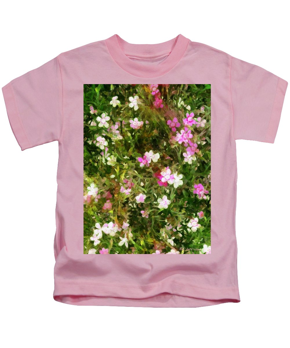 Dianthus Kids T-Shirt featuring the painting Divine Maidens by RC DeWinter