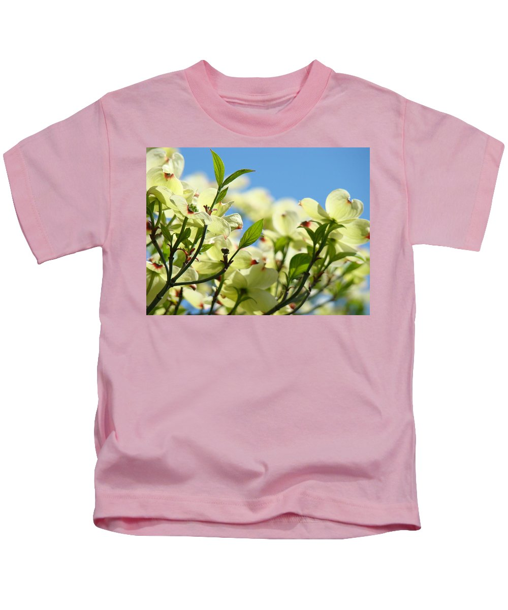 Dogwood Kids T-Shirt featuring the photograph Dogwood Flowers Art Prints Canvas White Dogwood Tree Blue Sky by Baslee Troutman