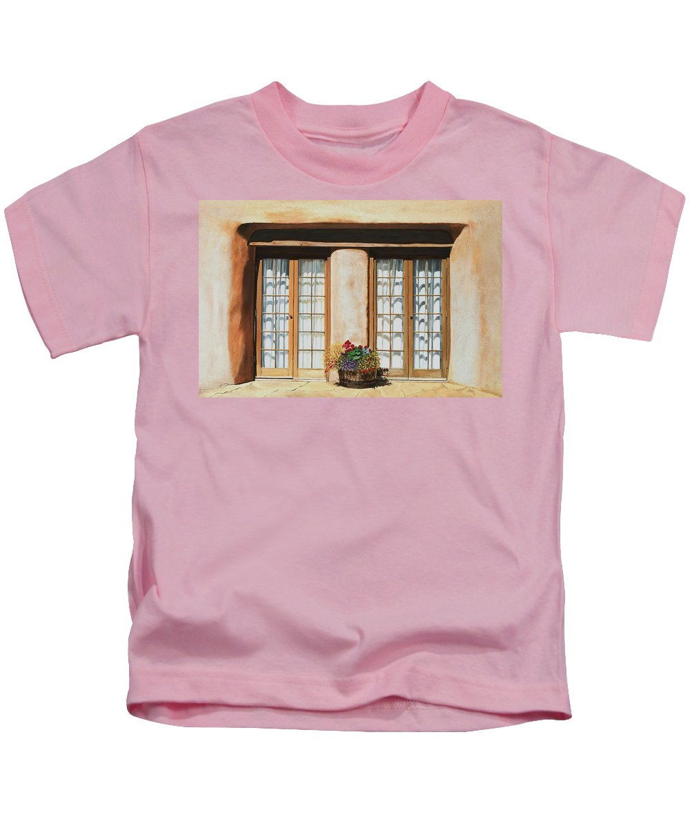 Usa Kids T-Shirt featuring the painting Doors Of Santa Fe by Mary Rogers
