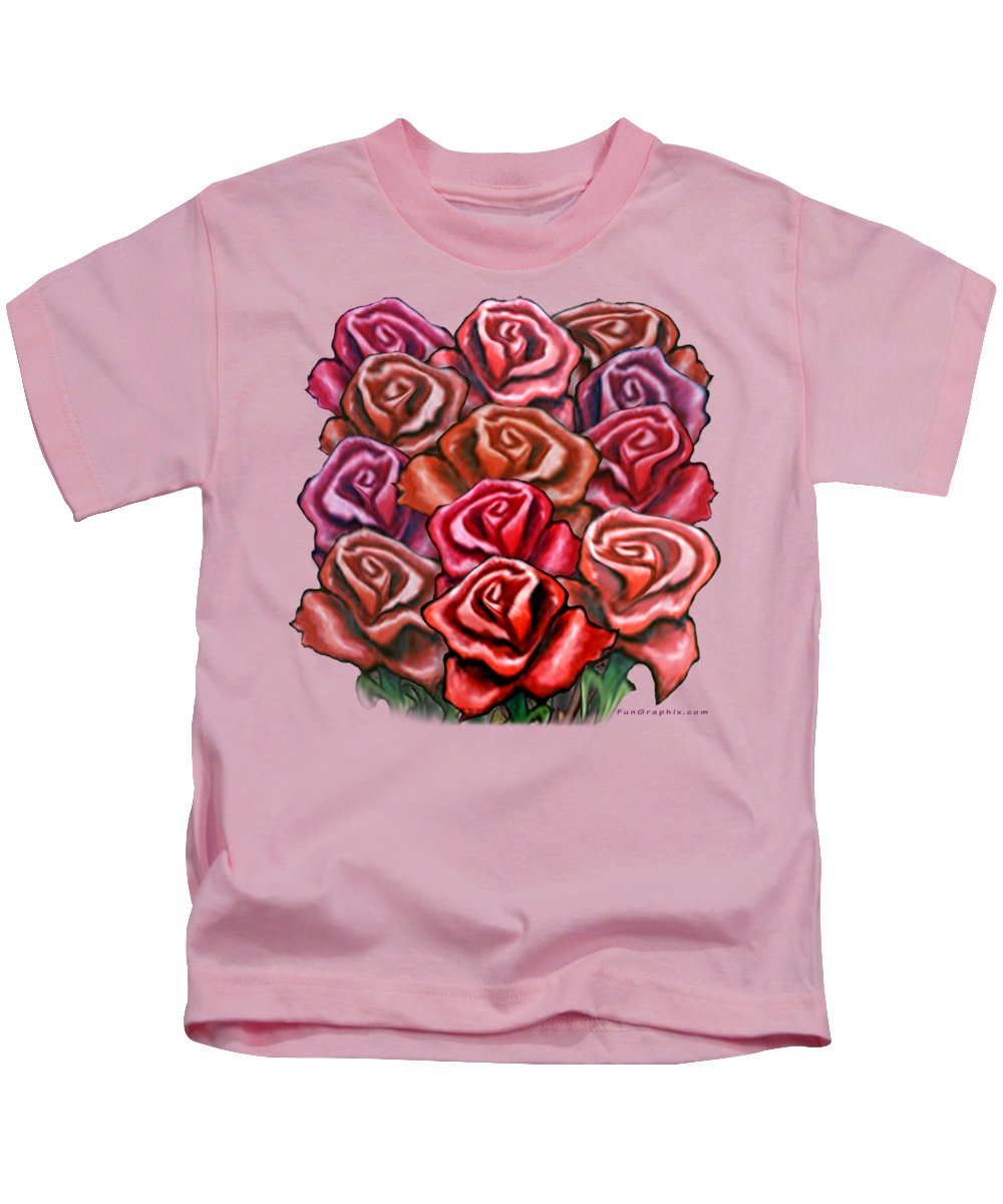 Rose Kids T-Shirt featuring the painting Dozen Roses by Kevin Middleton