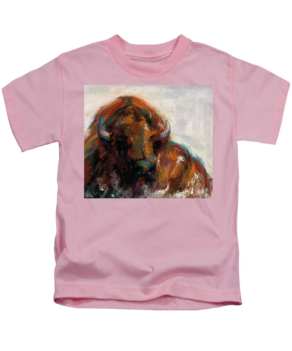 Buffalo Kids T-Shirt featuring the painting Early Morning Sunrise by Frances Marino