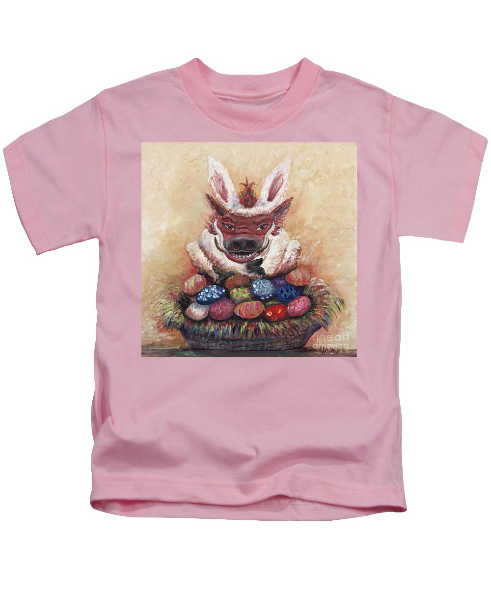 Easter Kids T-Shirt featuring the painting Easter Hog by Nadine Rippelmeyer