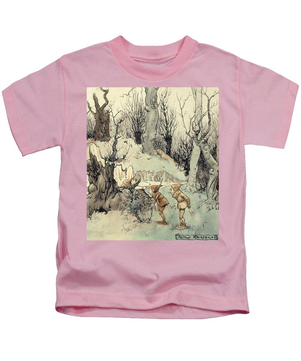 Arthur Kids T-Shirt featuring the painting Elves In A Wood by Arthur Rackham