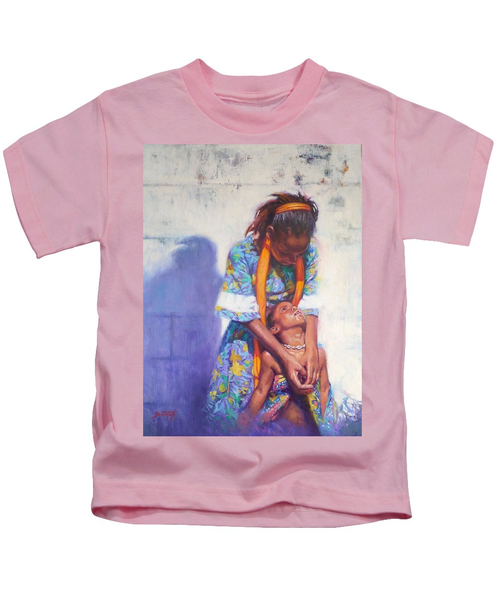 Black Art Kids T-Shirt featuring the painting Emancipation by Colin Bootman