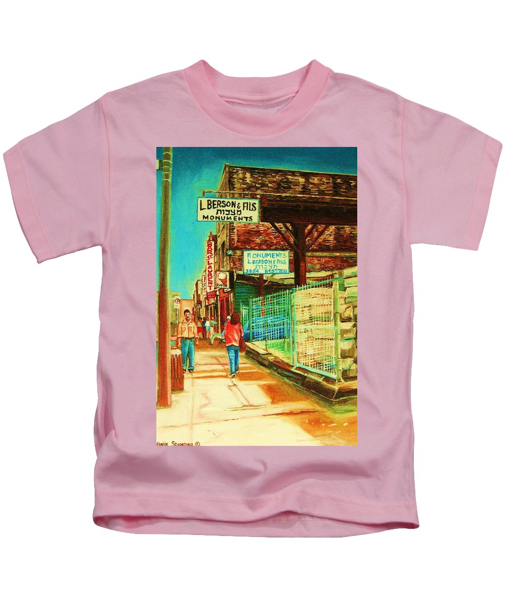 Berson Monuments Kids T-Shirt featuring the painting End Of Days by Carole Spandau