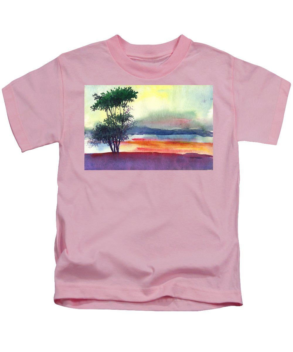 Water Color Kids T-Shirt featuring the painting Evening Lights by Anil Nene