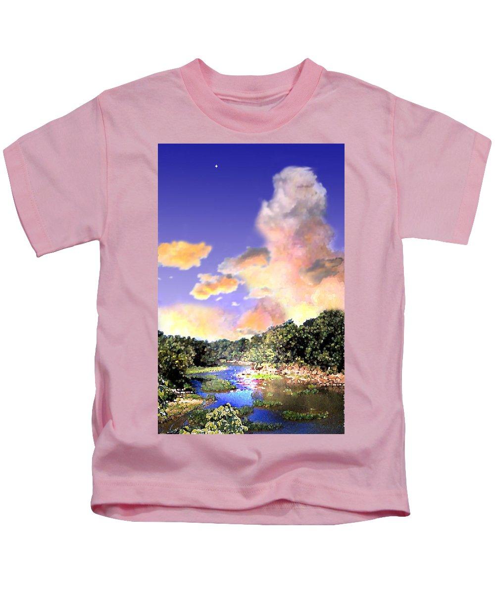 Landscape Kids T-Shirt featuring the digital art Evening Star by Steve Karol
