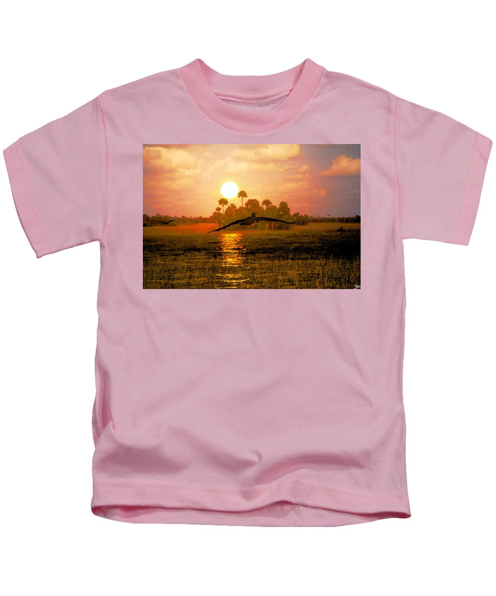 Everglades Dawn Kids T-Shirt featuring the painting Everglades Dawn by David Lee Thompson