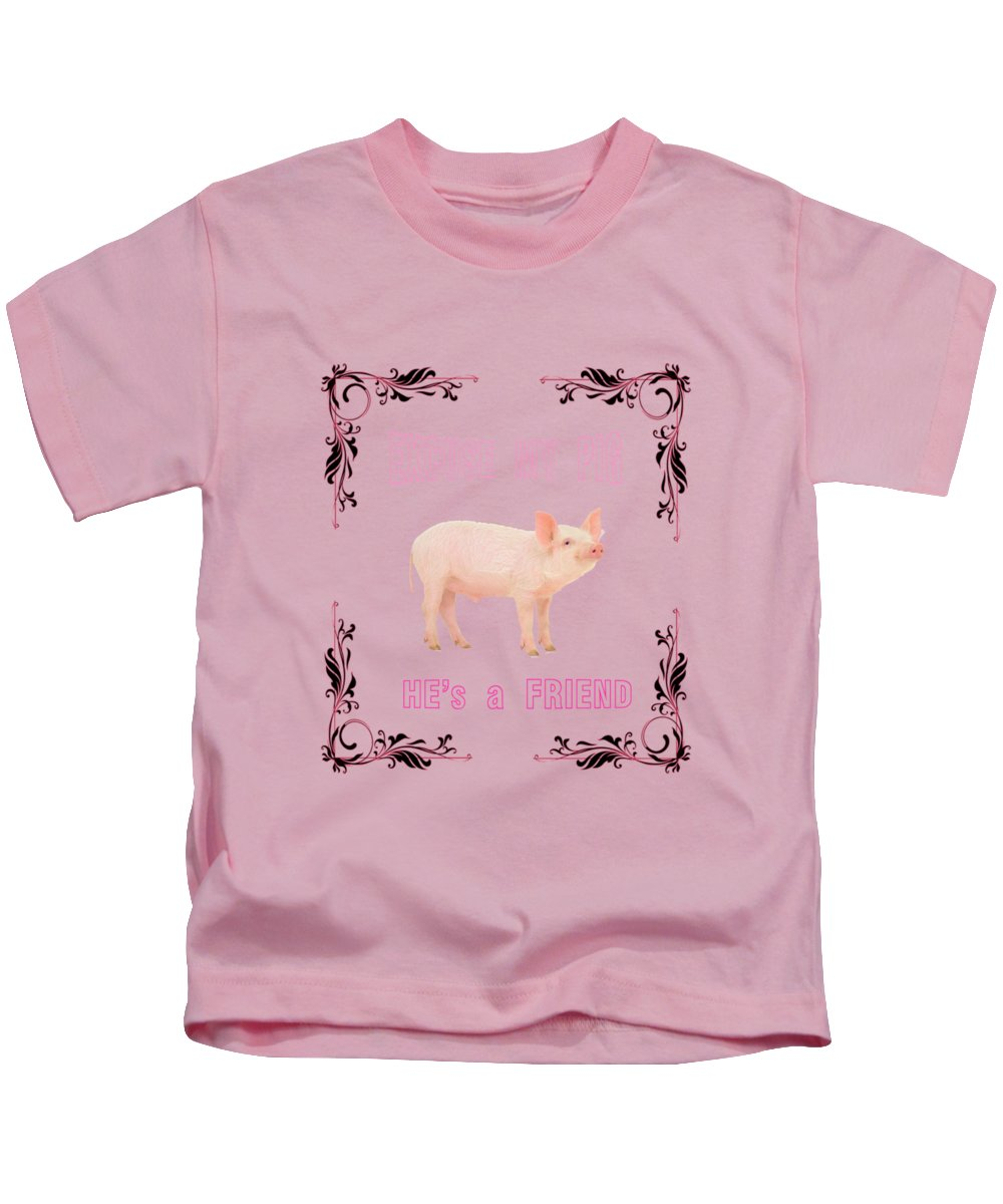 Pig Kids T-Shirt featuring the photograph Excuse My Pig , Hes A Friend by Rob Hawkins