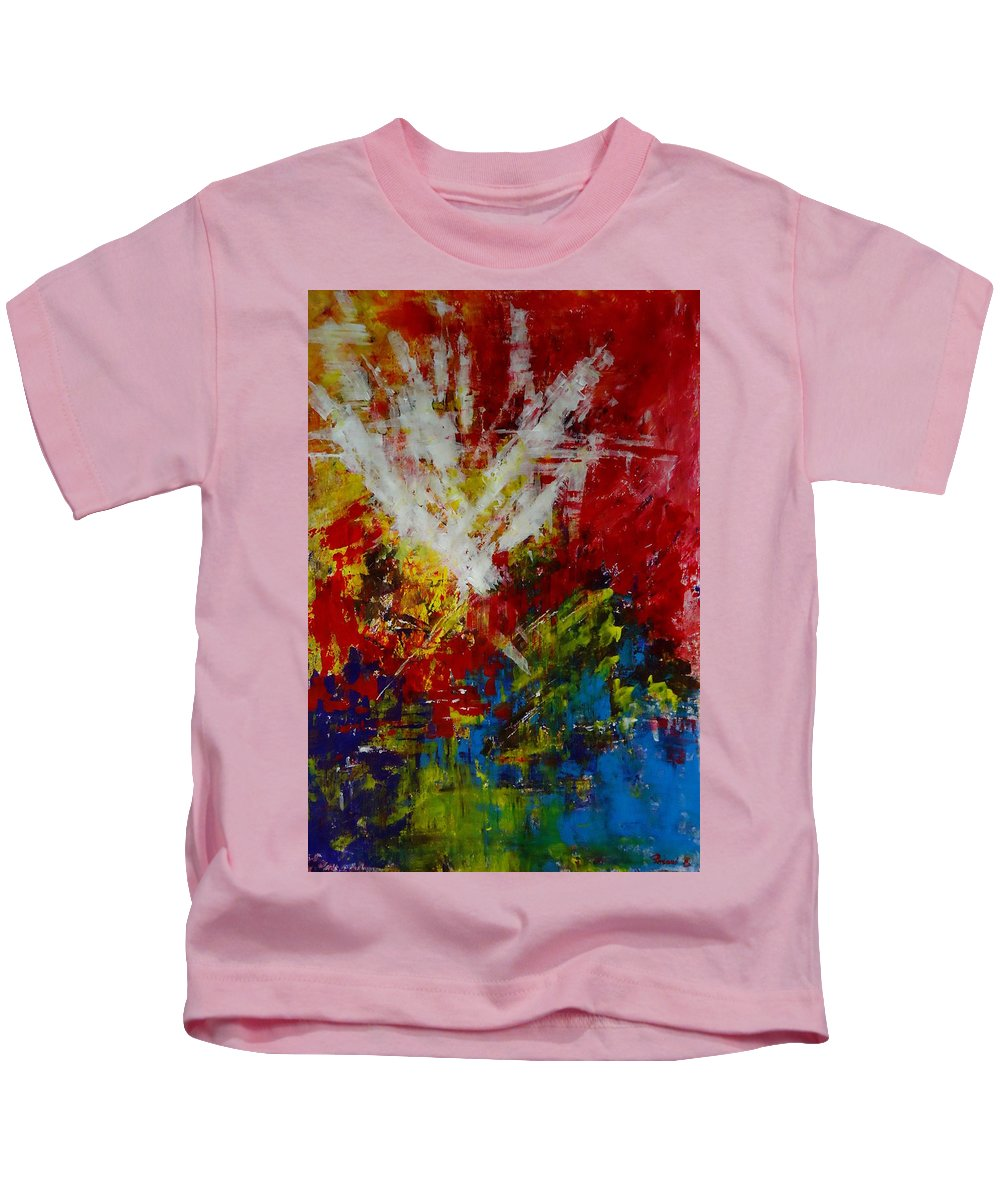 Art Kids T-Shirt featuring the painting Explosion by Katerina Pejsova