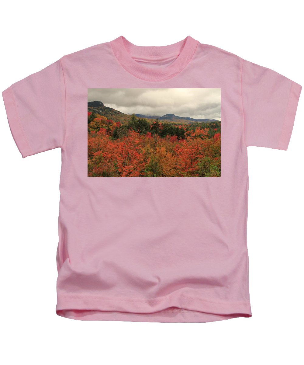 Autumn Foliage In White Mountains New Hampshire Kids T-Shirt featuring the photograph Fall Colors In White Mountains New Hampshire by Dan Sproul