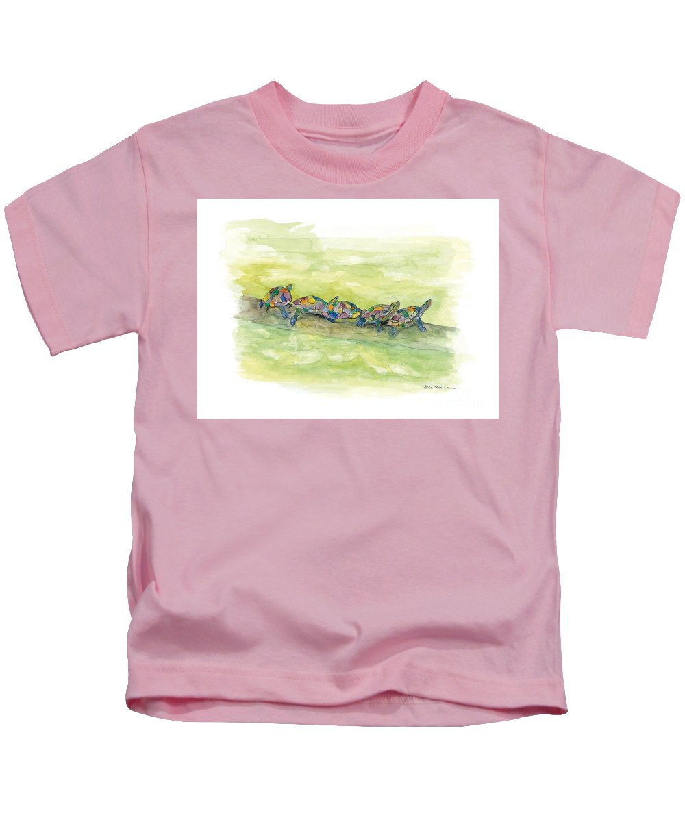 Watercolor Kids T-Shirt featuring the painting Family Outing by Joan Sharron