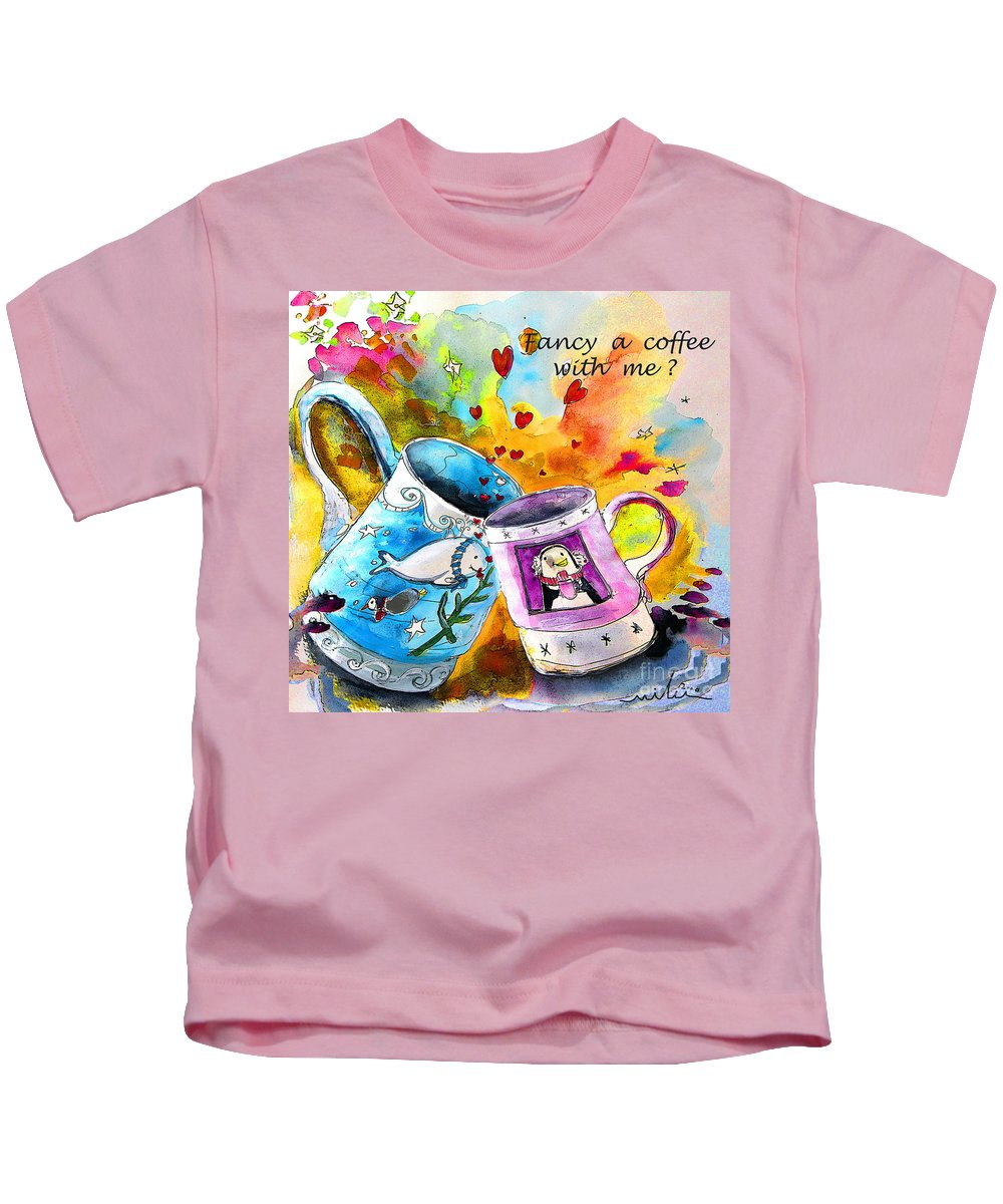 Cafe Crem Kids T-Shirt featuring the painting Fancy A Coffee by Miki De Goodaboom