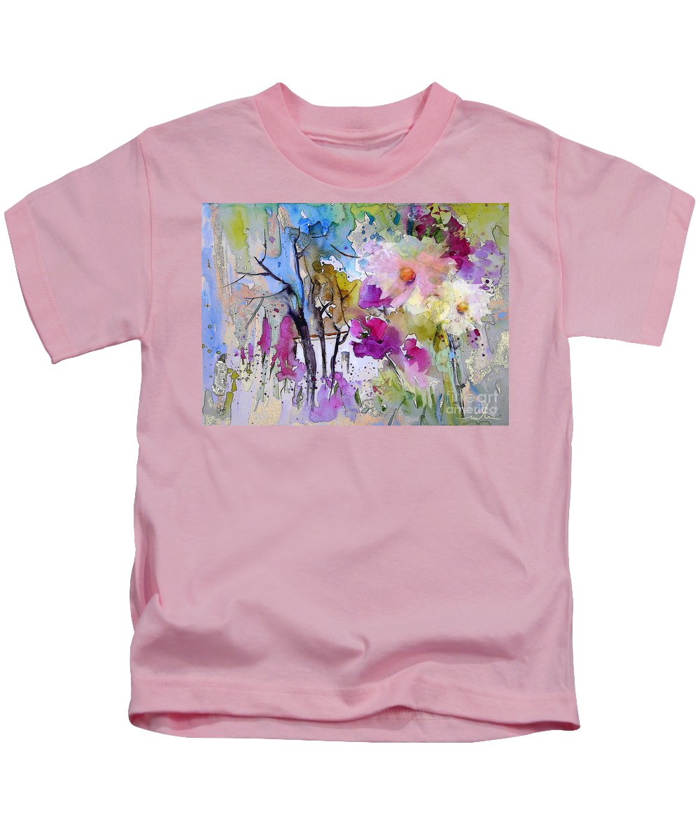 Flowers Kids T-Shirt featuring the painting Fantaquarelle 02 by Miki De Goodaboom