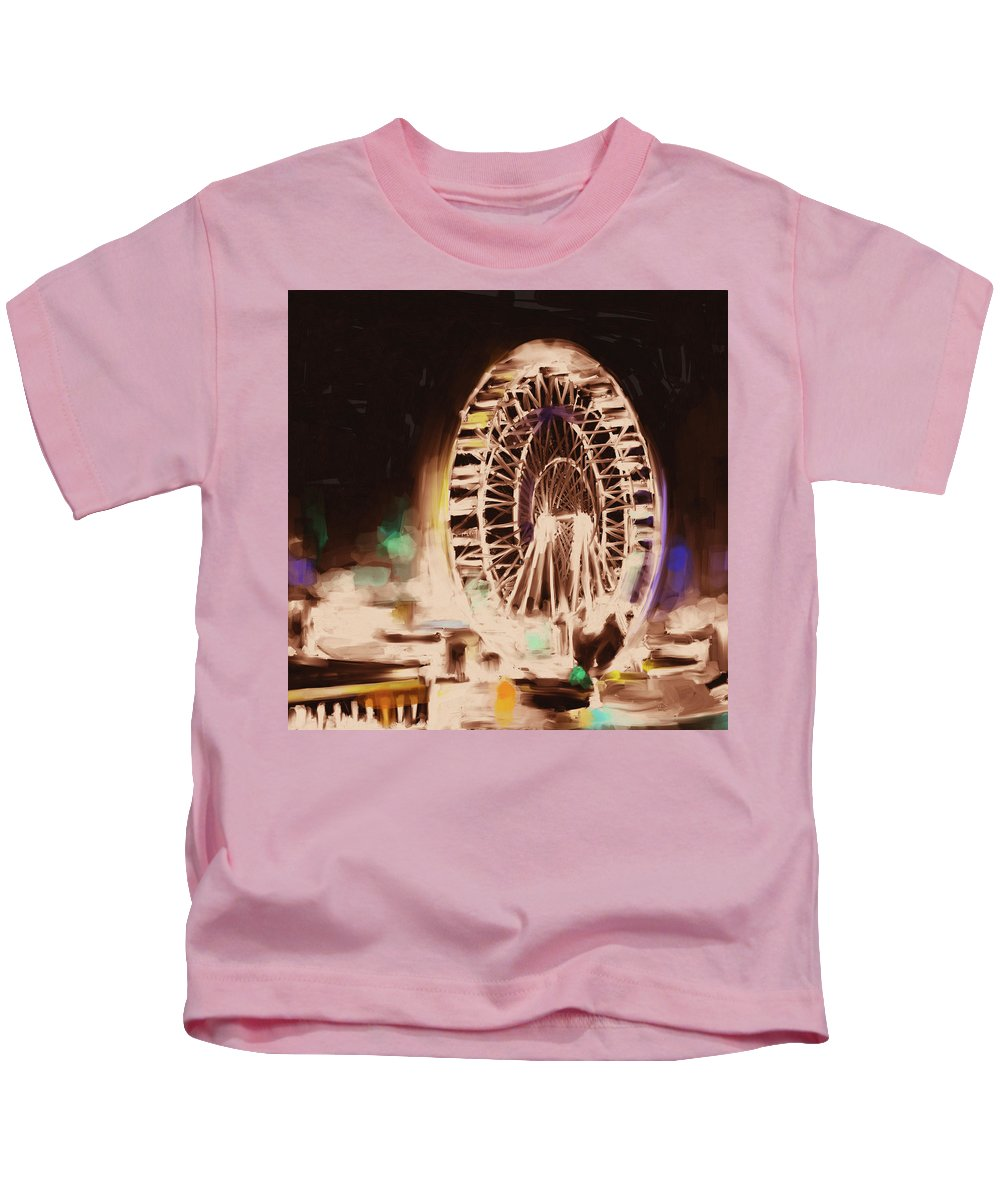 Chicago Kids T-Shirt featuring the painting Ferris Wheels Tower 536 2 by Mawra Tahreem