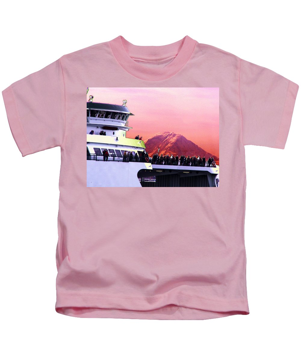 Seattle Kids T-Shirt featuring the digital art Ferry And Da Mountain by Tim Allen