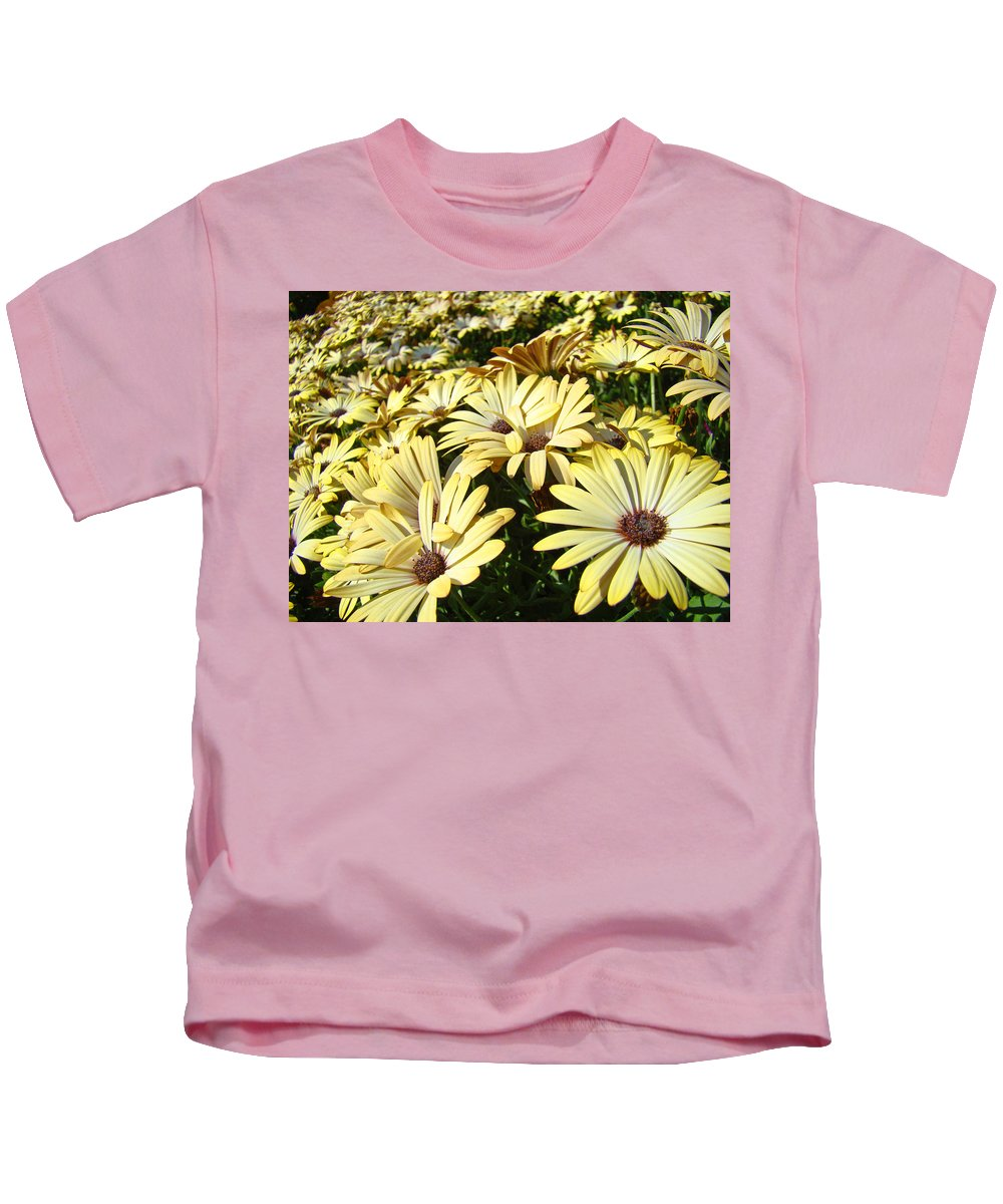 Daisy Kids T-Shirt featuring the photograph Field Of Daisies Landscape Floral Art Prints Daisy Baslee Troutman by Baslee Troutman