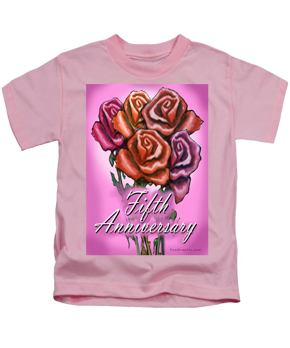 Fifth Kids T-Shirt featuring the greeting card Fifth Anniversary by Kevin Middleton