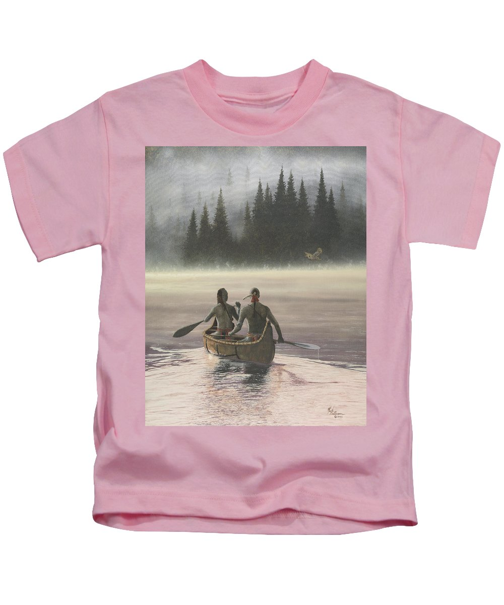Painting Kids T-Shirt featuring the painting First Light by Martin Bellmann