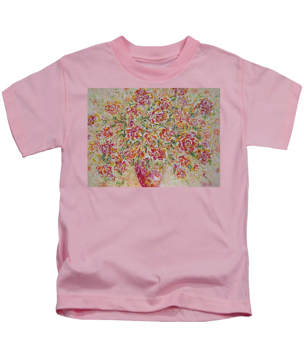 Flowers. Floral Kids T-Shirt featuring the painting First Love Flowers by Natalie Holland