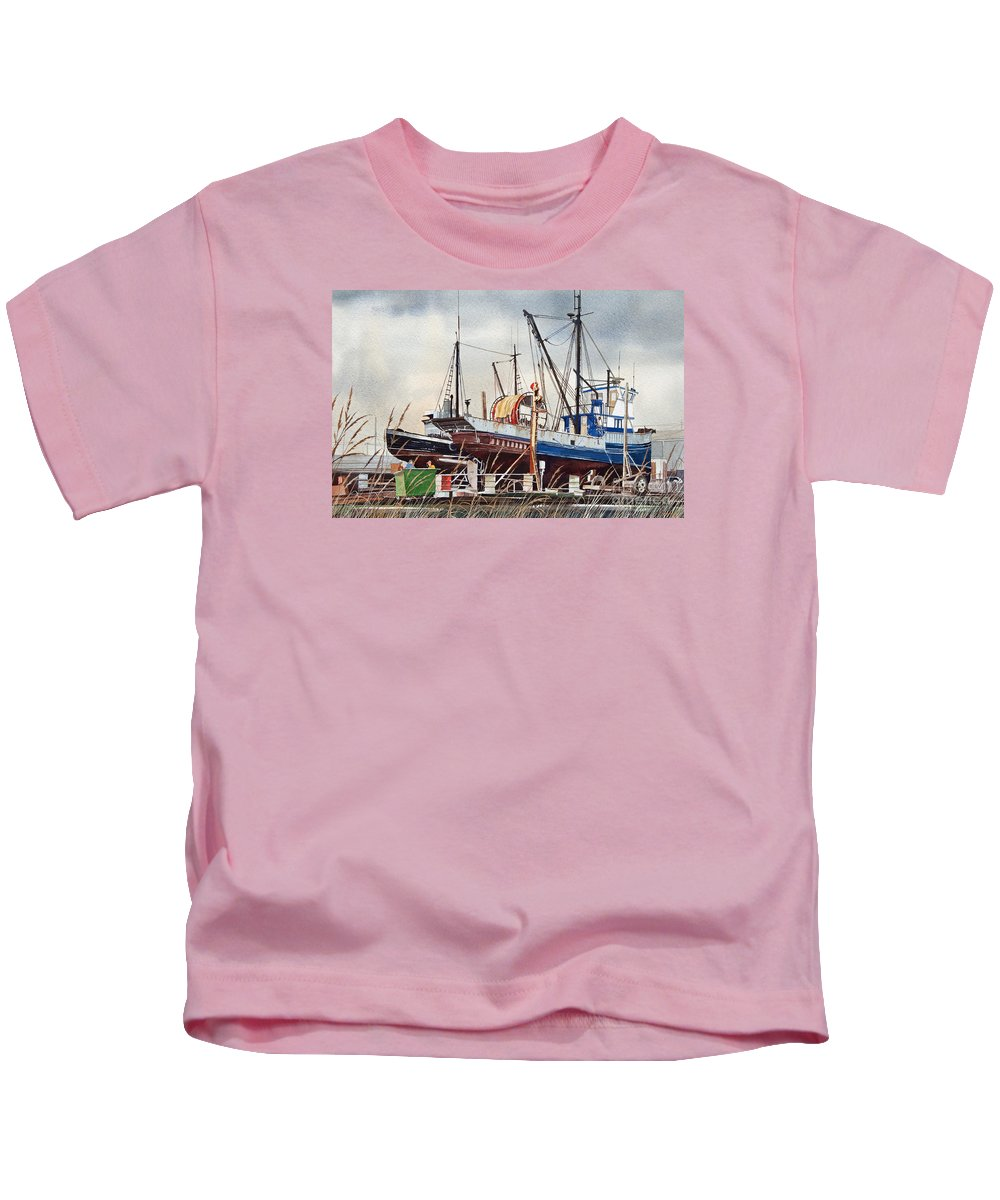 Fishing Vessel.fishing Vessel Fine Art Print Kids T-Shirt featuring the painting Fishing Vessel Ranger Drydock by James Williamson