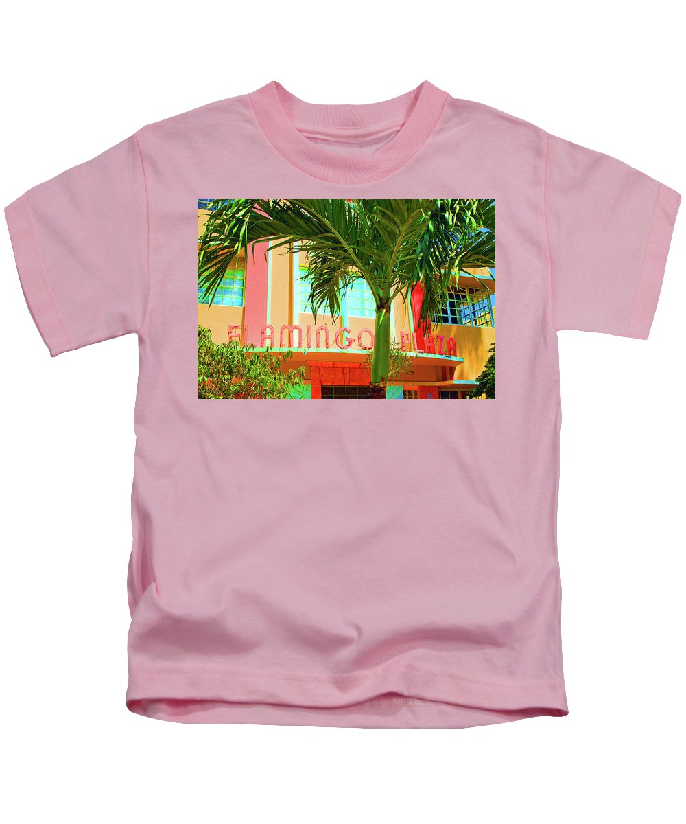 Miami Beach Kids T-Shirt featuring the photograph Flamingo Plaza by Jost Houk