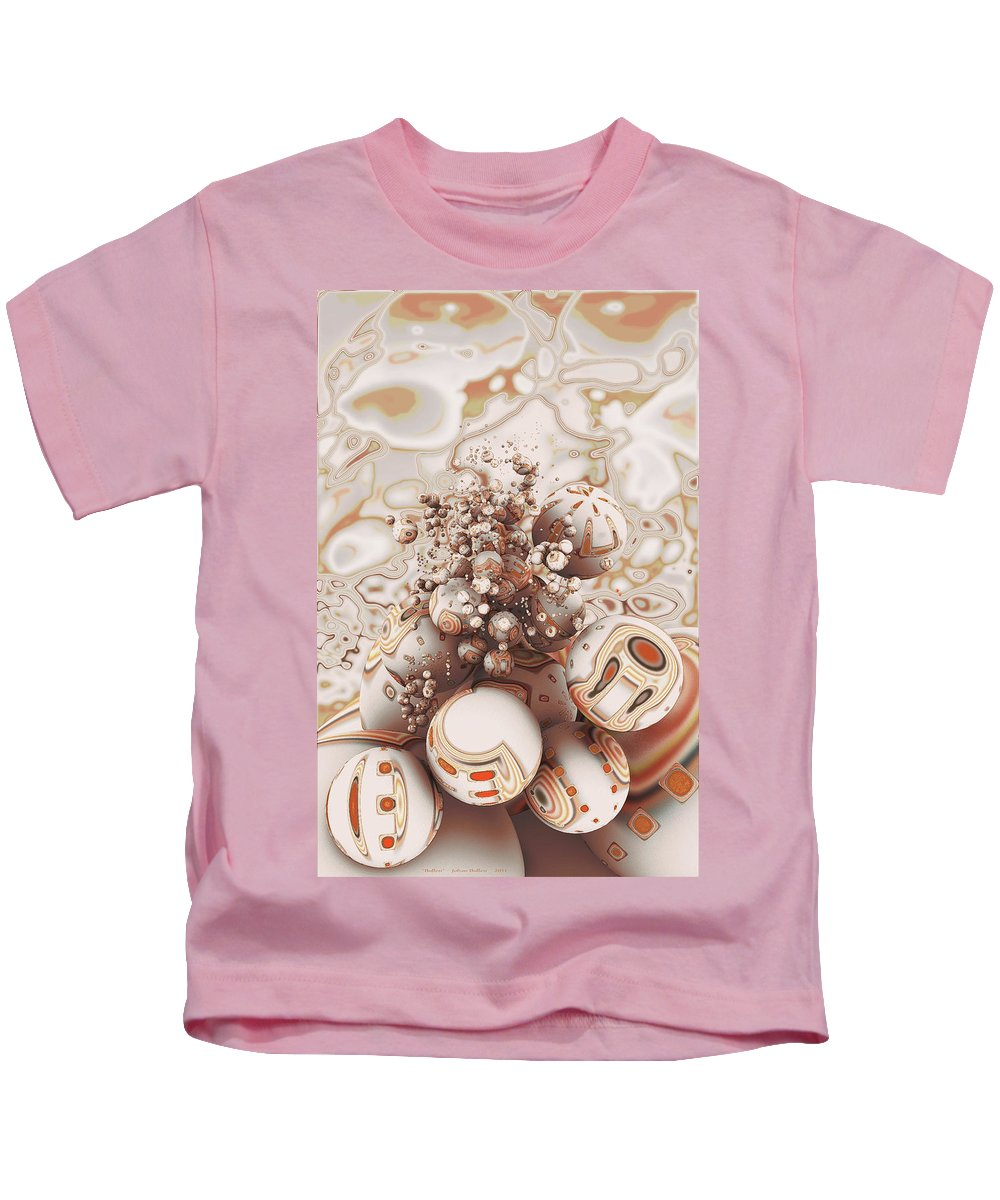 Red Kids T-Shirt featuring the digital art Floating Spheres by Johan Bollen