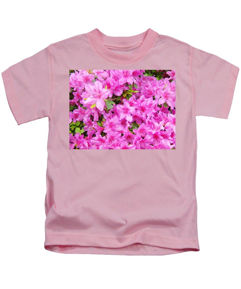 Azalea Kids T-Shirt featuring the photograph Floral Art Prints Pink Azalea Garden Landscape Baslee Troutman by Baslee Troutman