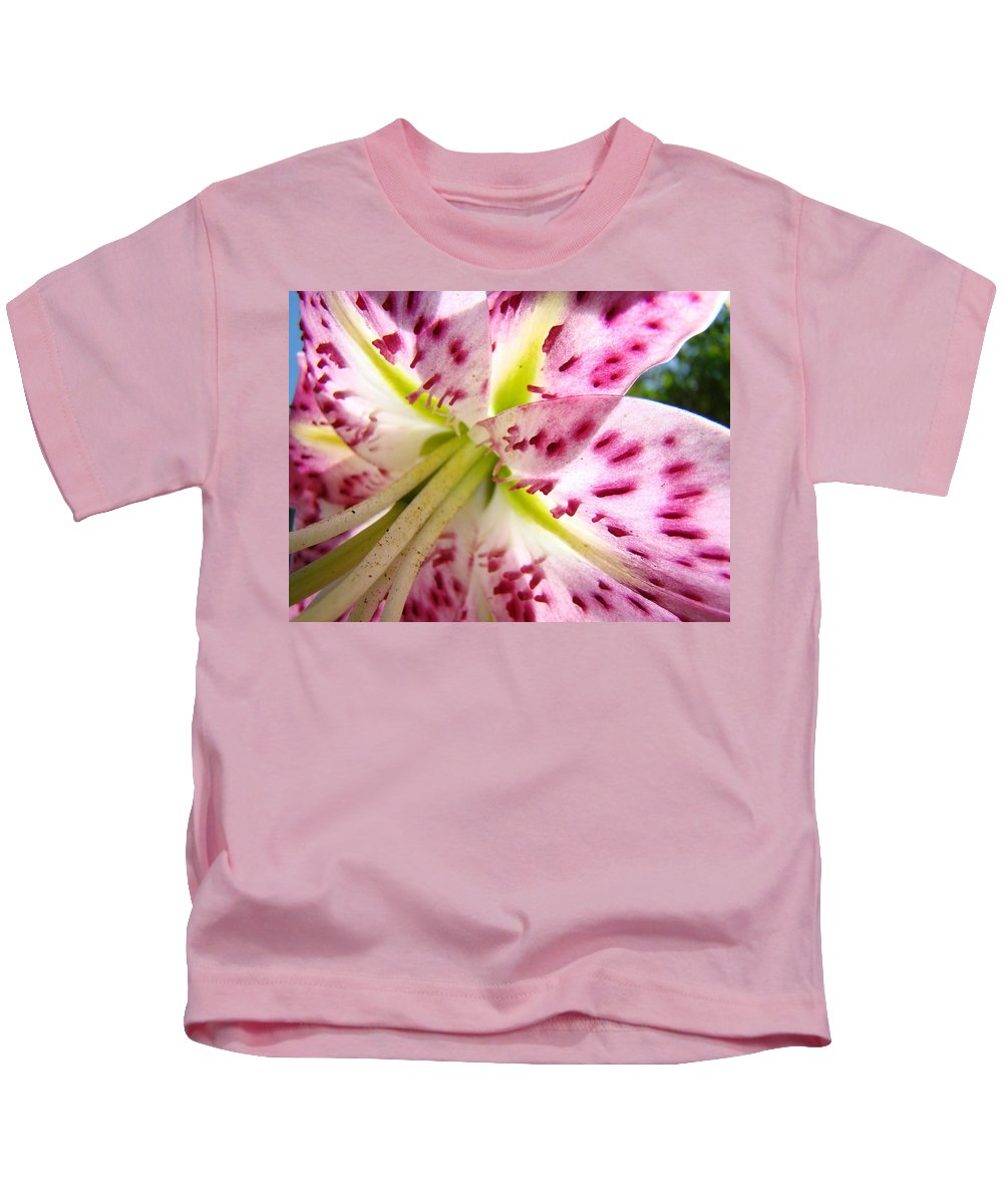 Lilies Kids T-Shirt featuring the photograph Floral Lily Flower Artwork Pink Calla Lilies Baslee Troutman by Baslee Troutman