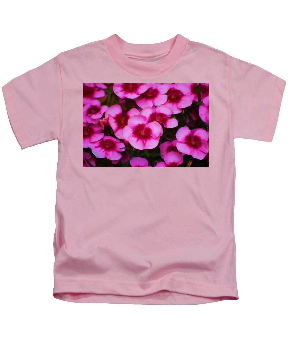 Floral Kids T-Shirt featuring the photograph Floral Study In Red And Pink by David Lane