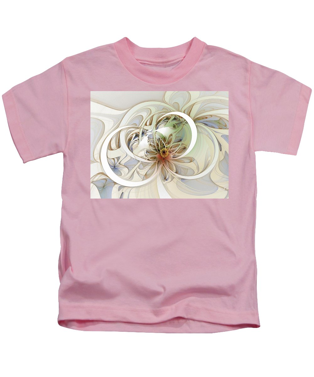 Digital Art Kids T-Shirt featuring the digital art Floral Swirls by Amanda Moore