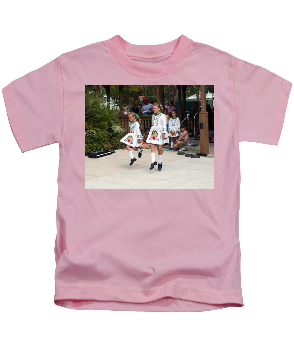Young; Youth; Girl; Maid; Maiden; Irish; Dance; Dancer; Competition; Ireland; Gaelic; Celt; Celtic; Kids T-Shirt featuring the photograph Florida Irish Dancers by Allan Hughes