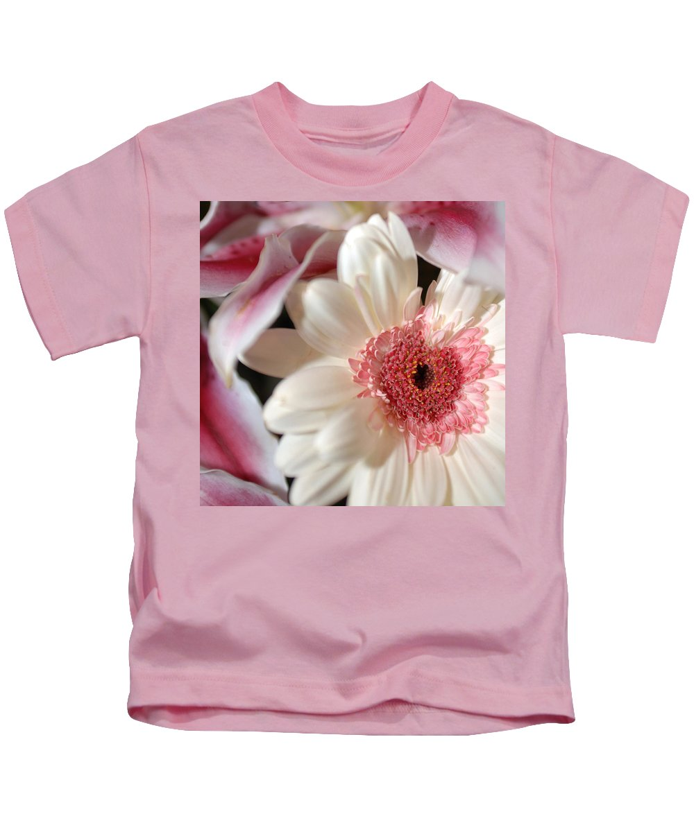 Flower Kids T-Shirt featuring the photograph Flower Pink-white by Jill Reger