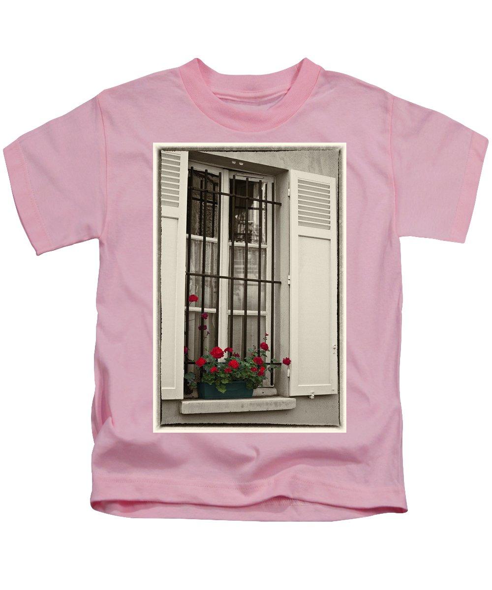 Paris Kids T-Shirt featuring the photograph Flowers in Paris windowbox by Sheila Smart Fine Art Photography