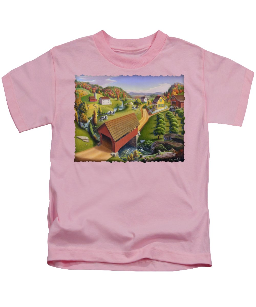 Covered Bridge Kids T-Shirt featuring the painting Folk Art Covered Bridge Appalachian Country Farm Summer Landscape - Appalachia - Rural Americana by Walt Curlee