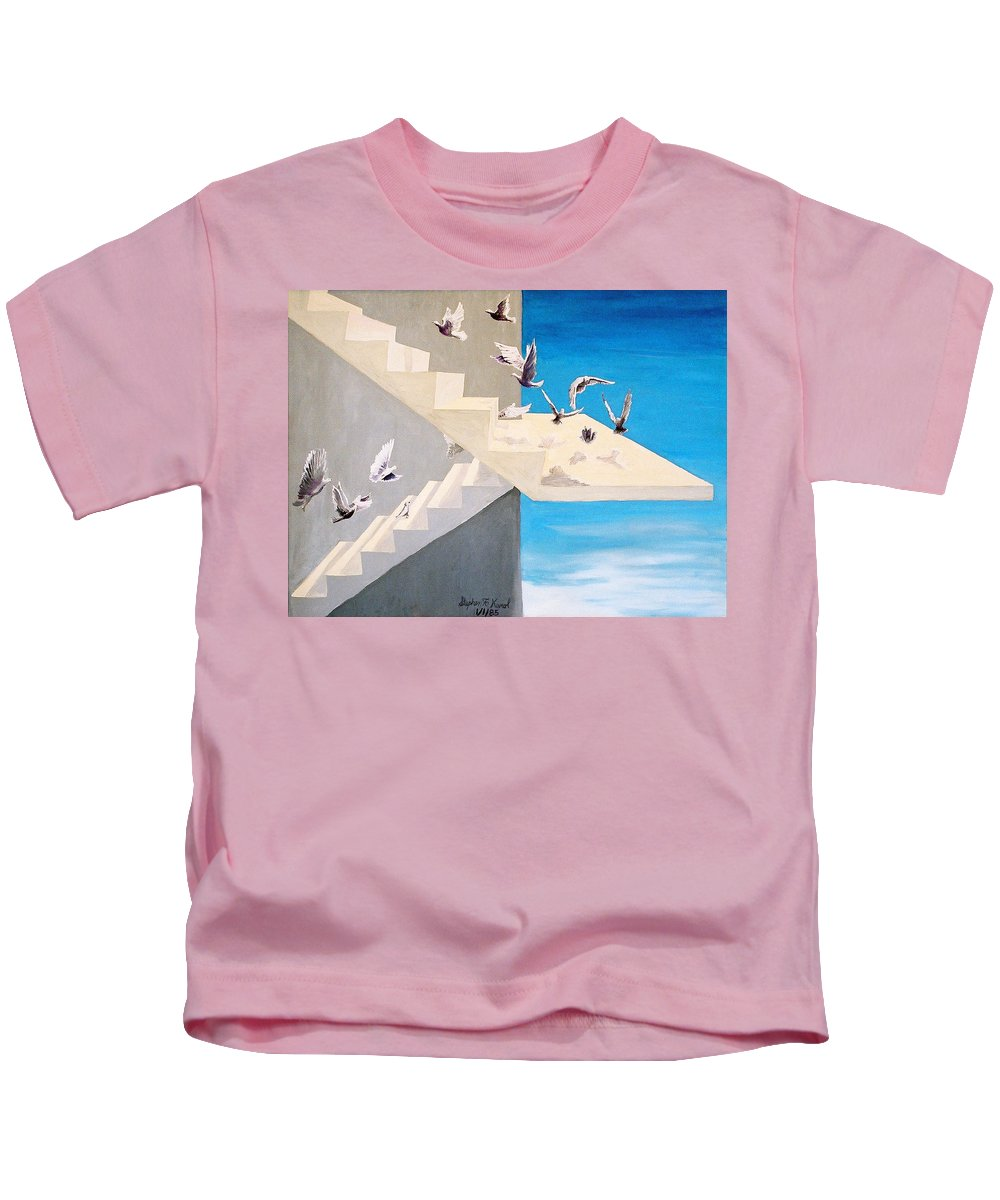 Birds Kids T-Shirt featuring the painting Form Without Function by Steve Karol