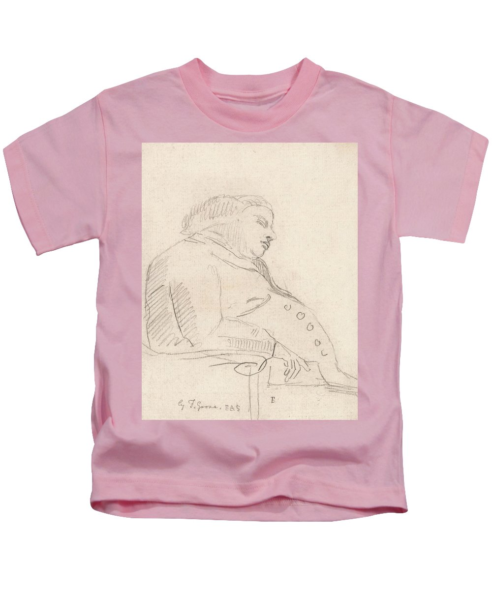 Paul Sandby Kids T-Shirt featuring the drawing Francis Grose Asleep In A Chair by Paul Sandby